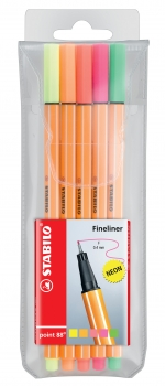 Stabilo® Fineliner Point 88® 5Stk./Pack Neon Farben